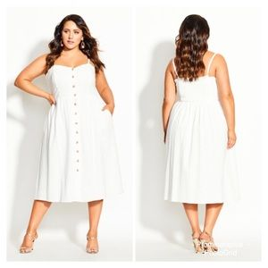 City Chic Ivory Scallop Button Boho Dress Size 24